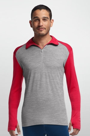 Icebreaker Mens Tech Top Long Sleeve Half Zip Metro Heather/ Rocket (Close out)