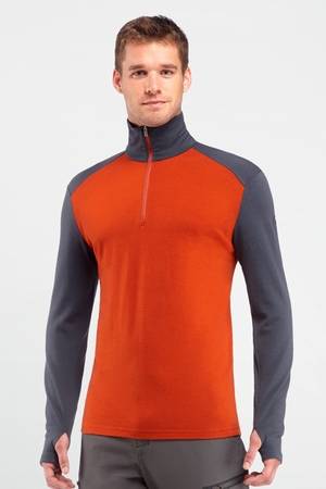 Icebreaker Mens Tech Top Long Sleeve Half Zip Copper/ Monsoon (Autumn 2013)