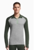 Icebreaker Mens Tech Top Long Sleeve Half Zip Metro Heather/ Conifer/ Balsam