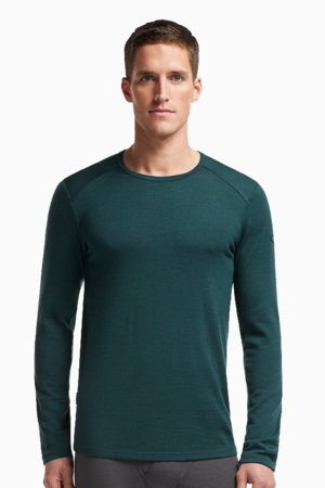 Icebreaker Mens Tech Top Long Sleeve Crewe Nori Heather