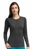 Icebreaker Womens Oasis Long Sleeve Crewe Stripe Black (Close Out)