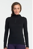 Icebreaker Womens Oasis Long Sleeve Half Zip Hood Black (Close Out)