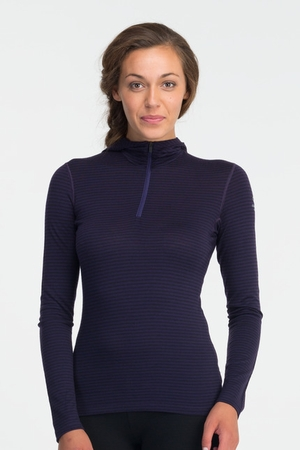 Icebreaker Womens Oasis Long Sleeve Hood Stripe Lotus (Autumn 2013)
