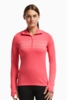 Icebreaker Womens Tech Long Sleeve Zip Fair Isle Grapefruit/ White