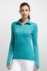 Icebreaker Womens Tech Top Long Sleeve Half Zip Stripe Glacier (Autumn 2014)