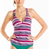 Lole Womens Masai Tankini Top Multi stripe Glade Green (Spring 2014)