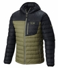Mountain Hardwear Mens Dynotherm Down Hooded Jacket Stone Green/ Black