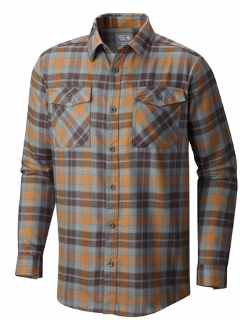 Mountain Hardwear Mens Trekkin Flannel Long Sleeve Shirt Golden Brown