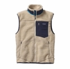 Patagonia Mens Classic Retro-X Fleece Vest Natural w/ Navy Blue