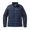 Patagonia Mens Down Sweater Jacket Navy Blue w/ Underwater Blue XXL