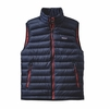 Patagonia Mens Down Sweater Vest Navy Blue w/ Ramble Red