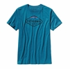 Patagonia Mens Fitz Roy Crest Cotton/Poly T-Shirt Underwater Blue