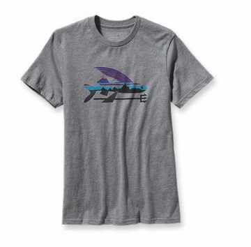 Patagonia Mens Fitz Roy Flying Fish T-Shirt Gravel Heather