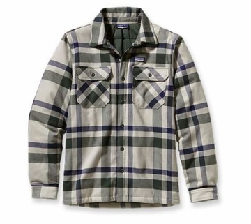 Patagonia Mens Insulated Fjord Flannel Jacket Comstock: Stone