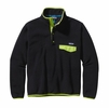 Patagonia Mens Lightweight Synchilla Snap-T Fleece Pullover Black w/ Peppergrass Green