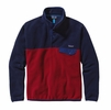 Patagonia Mens Lightweight Synchilla Snap-T Fleece Pullover Classic Red w/ Navy Blue