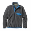 Patagonia Mens Lightweight Synchilla Snap-T Fleece Pullover Nickel w/ Electron Blue