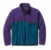 Patagonia Mens Lightweight Synchilla Snap-T Fleece Pullover Underwater Blue w/ Purple