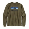 Patagonia Mens Long Sleeve Line Logo Cotton Shirt Fatigue Green