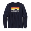 Patagonia Mens Long Sleeve Line Logo Cotton Shirt Navy Blue