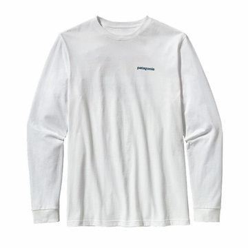 Patagonia Mens Long Sleeve Line Logo Cotton Shirt White