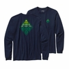 Patagonia Mens Long-Sleeved Alpine Cone Cotton T-Shirt Navy Blue
