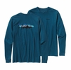 Patagonia Mens Long-Sleeved Fitz Roy Tarpon Cotton T-Shirt Crater Blue