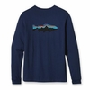 Patagonia Mens Long-Sleeved Fitz Roy Trout T-Shirt Classic Navy