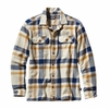 Patagonia Mens Long-Sleeved Fjord Flannel Shirt Comstock: Channel Blue Large