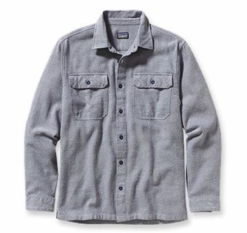 Patagonia Mens Long-Sleeved Fjord Flannel Shirt Fancy Chambray: Classic Navy