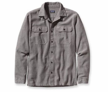 Patagonia Mens Long-Sleeved Fjord Flannel Shirt Fancy Chambray: Java Brown