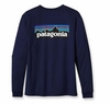 Patagonia Mens Long-Sleeved P-6 Logo T-Shirt Classic Navy