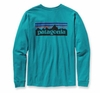 Patagonia Mens Long-Sleeved P-6 Logo T-Shirt Tobago Blue