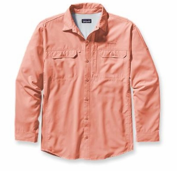 Patagonia Mens Long-Sleeved Sol Patrol Shirt Paisley Peach (Spring 2014)