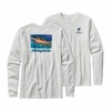 Patagonia Mens Long-Sleeved World Trout Slurped Cotton T-Shirt White