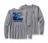 Patagonia Mens Long-Sleeved World Trout Steelhead T-Shirt Gravel Heather