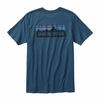 Patagonia Mens P-6 Logo Cotton T-Shirt Glass Blue