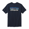 Patagonia Mens P-6 Logo Cotton T-Shirt Navy Blue