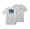 Patagonia Mens World Trout Slurp Cotton T-Shirt White