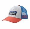 Patagonia P-6 LoPro Trucker Hat White w/ Carve Coral