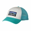 Patagonia P-6 LoPro Trucker Hat White w/ Howling Turquoise