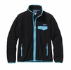 Patagonia Womens Full-Zip Snap-T Fleece Jacket Black w/ Ultramarine Medium