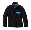 Patagonia Womens Lightweight Synchilla Snap-T Fleece Pullover Black w/ Skipper Blue Small
