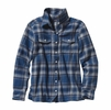 Patagonia Womens Long-Sleeved Fjord Flannel Shirt Handicraft: Glass Blue