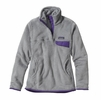 Patagonia Womens Re-Tool Snap-T Fleece Pullover Tailored Grey: Nickel X-Dye w/ Concord Purple