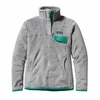 Patagonia Womens Re-Tool Snap-T Fleece Pullover Tailored Grey: Nickel X-Dye w/ Emerald
