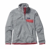 Patagonia Womens Re-Tool Snap-T Fleece Pullover Tailored Grey: Nickel X-Dye w/ Shock Pink