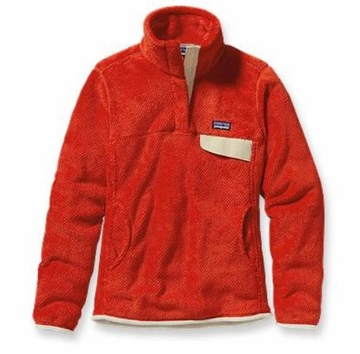 Patagonia Womens Re-Tool Snap-T Pullover Eclectic Orange: Red Delicious X-Dye