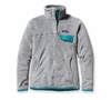 Patagonia Womens Re-Tool Snap-T Pullover Tailored Grey: Nickel X-Dye w/ Tobago Blue