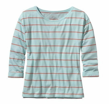 Patagonia Womens Shallow Seas Top Congo Stripe: Polar Blue (Spring 2014)